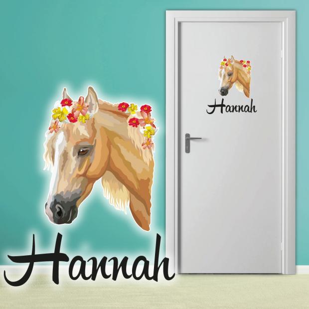 Türaufkleber Kinderzimmer Pferd Blumen Mädchen Name