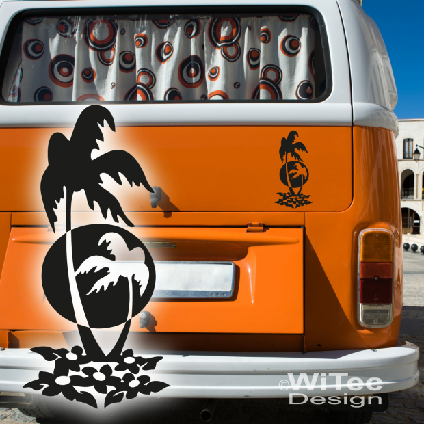 aa032 palmen aufkleber hawaii auto m bel pc wohnmobil. Black Bedroom Furniture Sets. Home Design Ideas