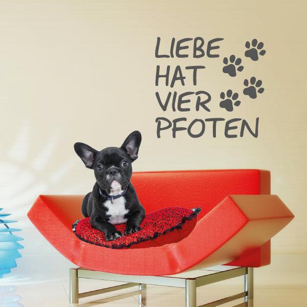 Wandtattoo Hunde Liebe Hat Vier Pfoten Abc Aufkleberde