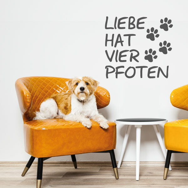 Wandtattoo Hunde Liebe Hat Vier Pfoten Aufkleber