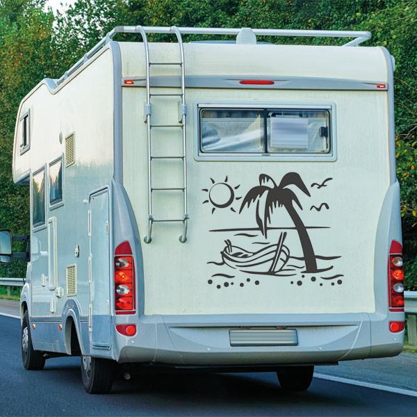 Wohnmobil Aufkleber Urlaub Strand Palmen Boot Wohnwagen