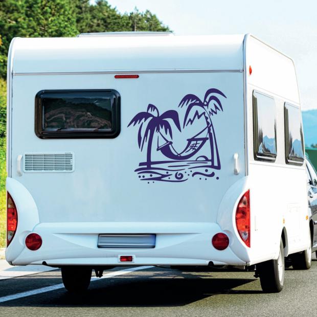 Wohnmobil Aufkleber Strand Palmen Hängematte Wohnwagen
