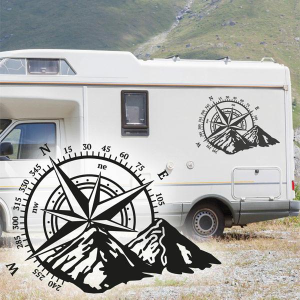 Wohnmobil Aufkleber Kompass Rose Berge Abc Aufkleberde