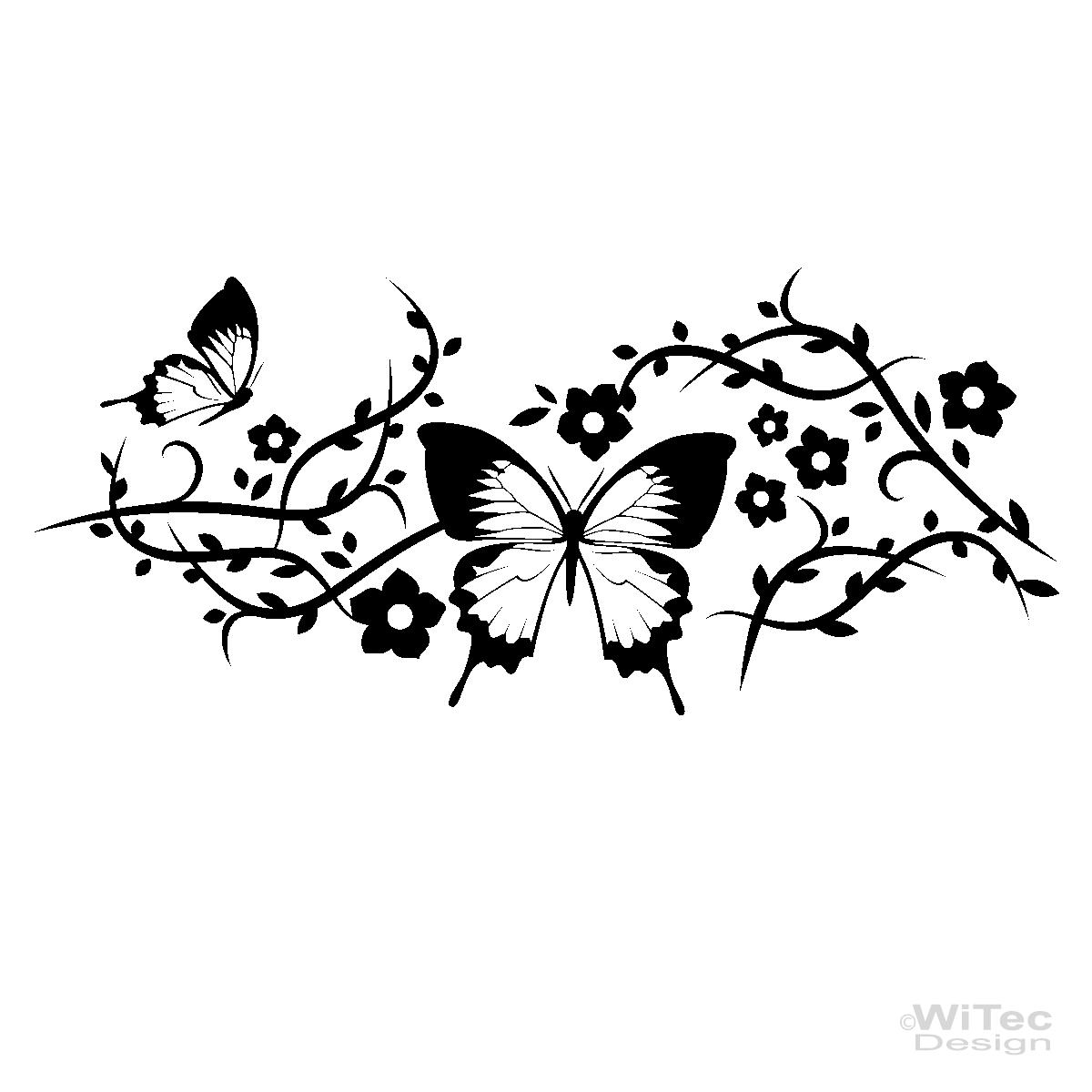 Wandtattoo Blumenranke Weiß : Wandtattoo Blumenranke Schmetterling Wandaufkleber