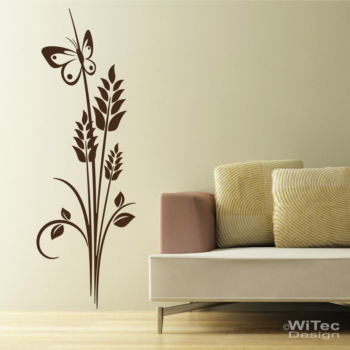 wandtattoo pflanze blumen schmetterling wandaufkleber. Black Bedroom Furniture Sets. Home Design Ideas