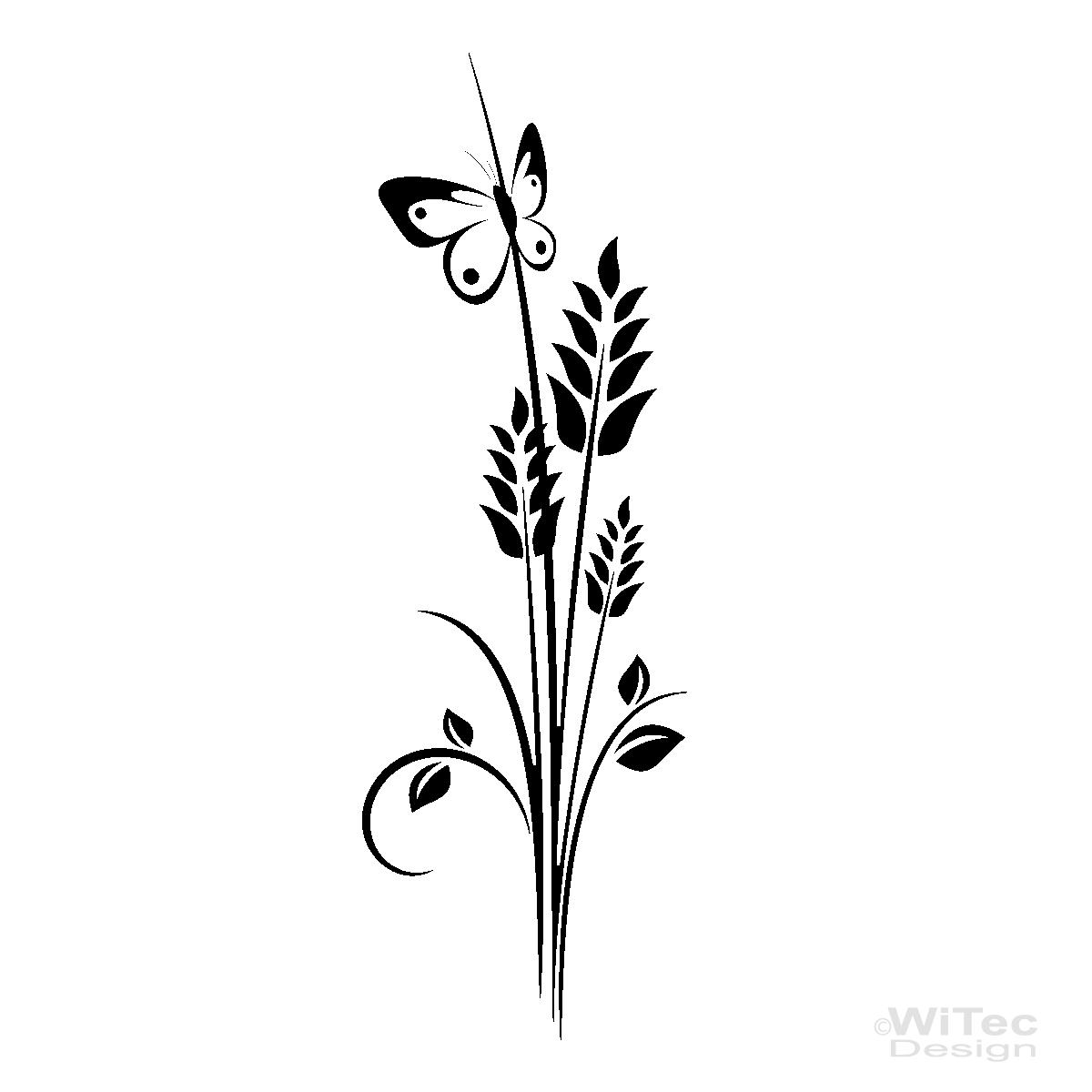 Wandtattoo Blumen Weiß : Wandtattoo Pflanze Blumen Schmetterling Wandaufkleber