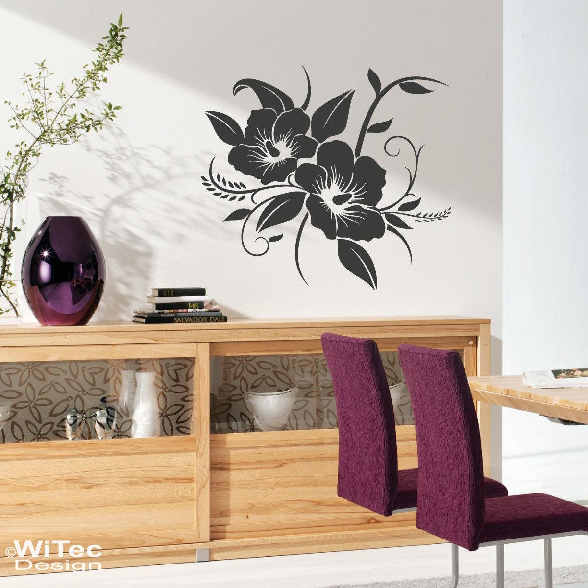 wandtattoo hibiskus blume wandaufkleber. Black Bedroom Furniture Sets. Home Design Ideas