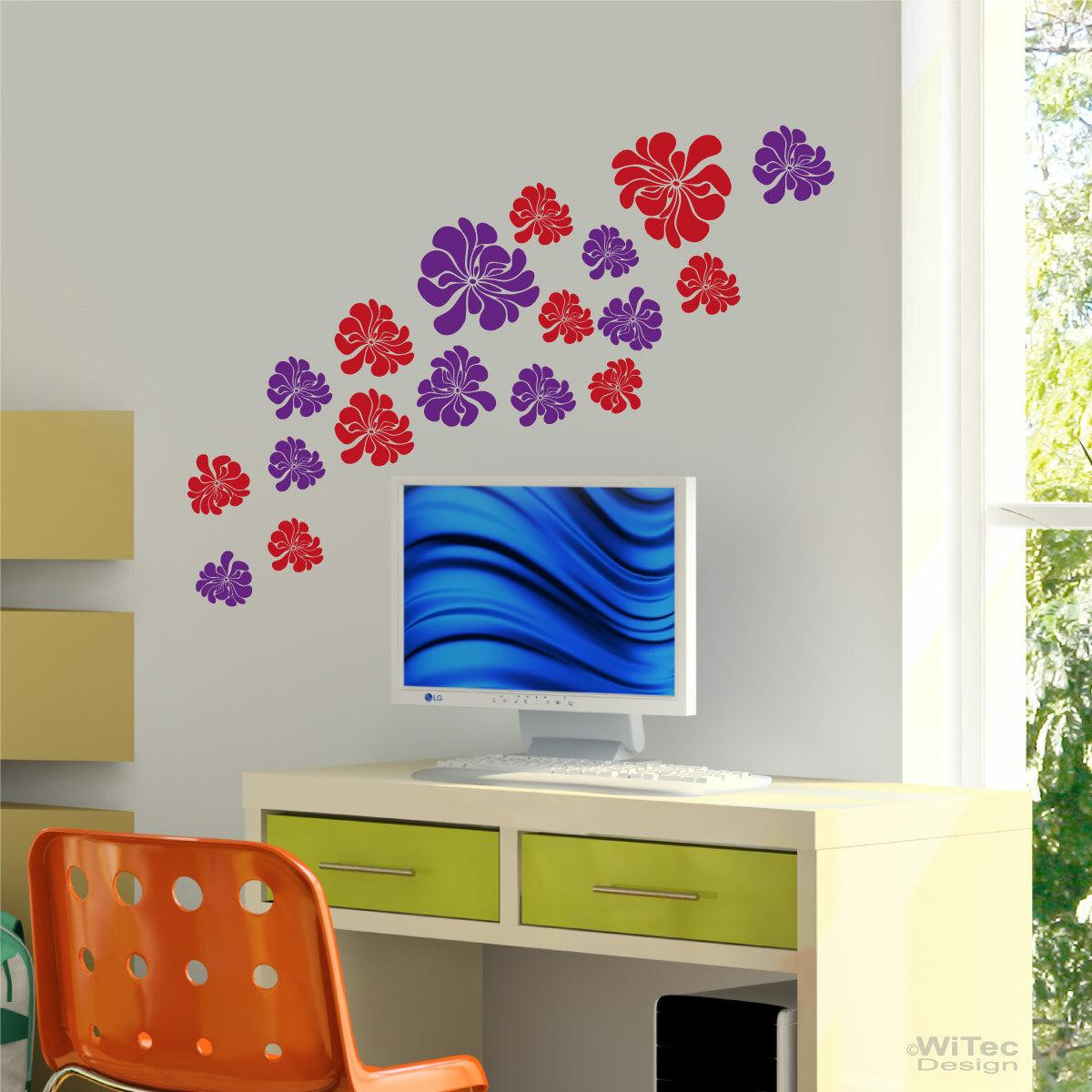 wandtattoo blumen 2 farbig wandaufkleber aufkleber. Black Bedroom Furniture Sets. Home Design Ideas