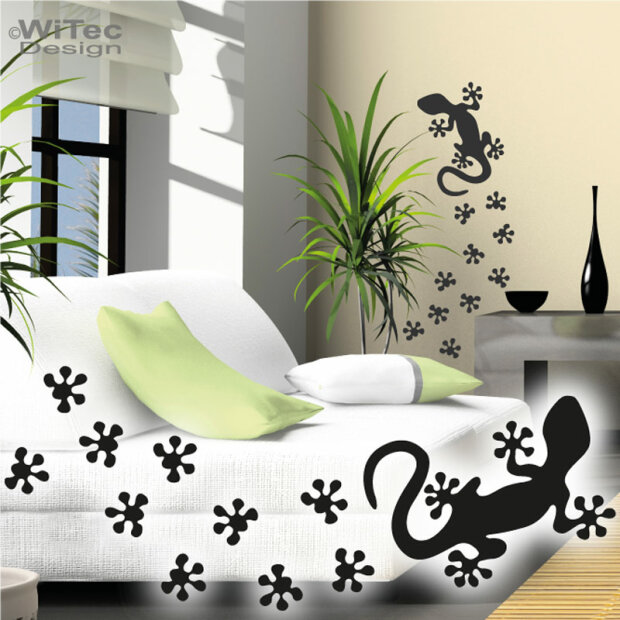 wa115 wandtattoo gecko gekko wandaufkleber walltattoo. Black Bedroom Furniture Sets. Home Design Ideas