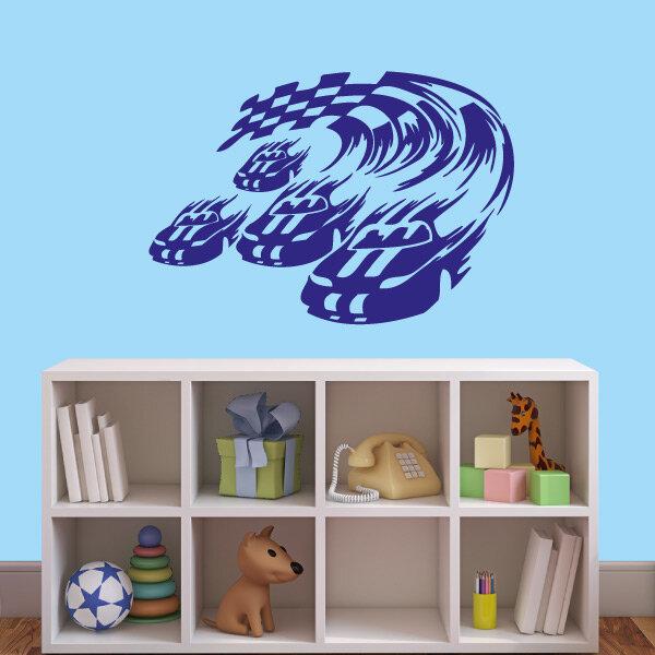 wandtattoo rennwagen wandaufkleber aufkleber kinderzimmer. Black Bedroom Furniture Sets. Home Design Ideas