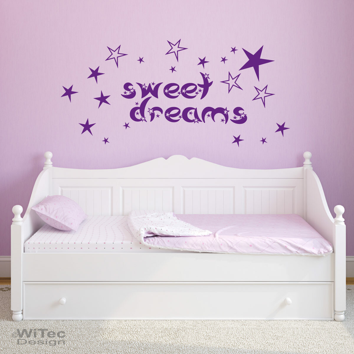 wandtattoo kinderzimmer sweet dreams sterne wandaufkleber. Black Bedroom Furniture Sets. Home Design Ideas