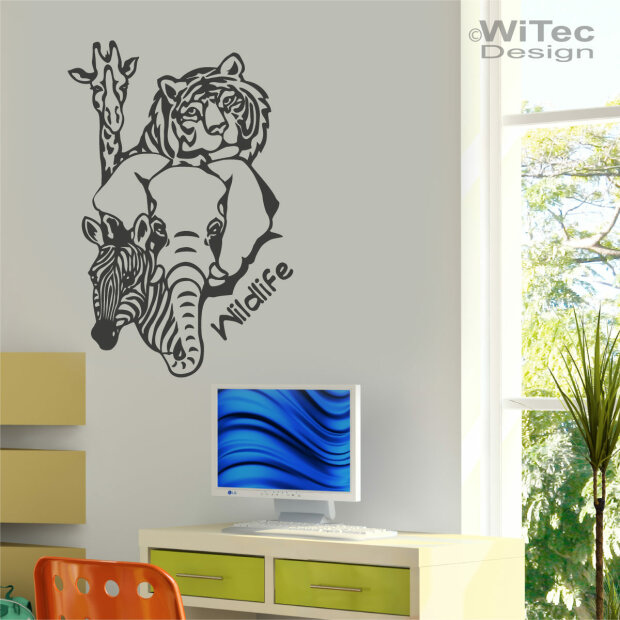 wandtattoo afrika wildlife wandaufkleber. Black Bedroom Furniture Sets. Home Design Ideas
