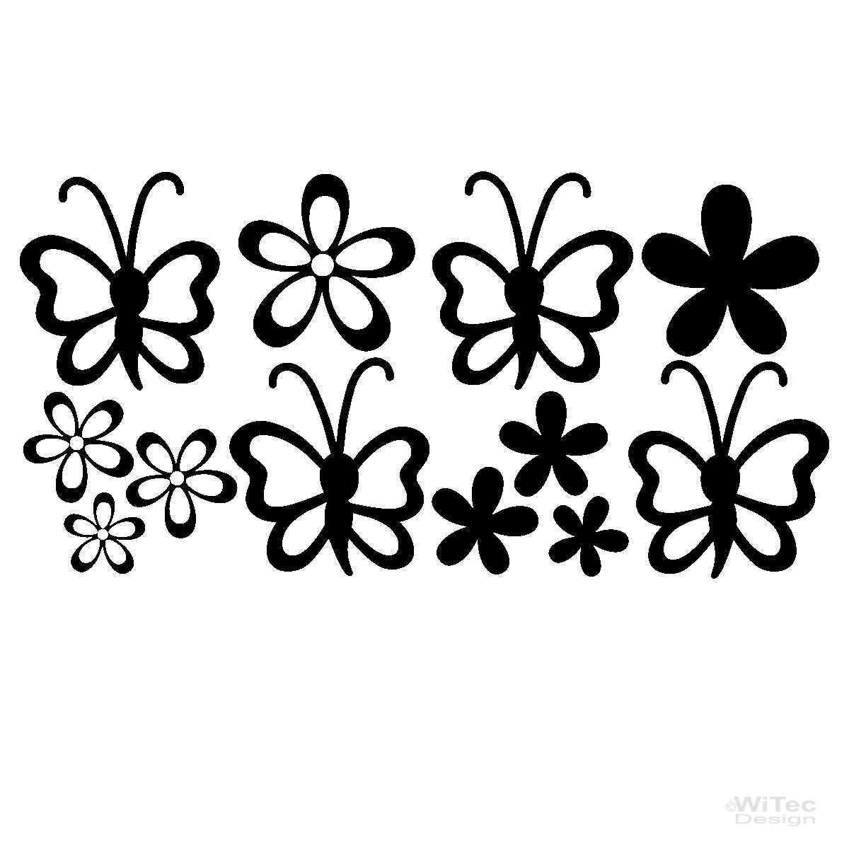 Wandtattoo Blumen Kinderzimmer : Wandtattoo Schmetterlinge Blumen Wandaufkleber Kinderzimmer