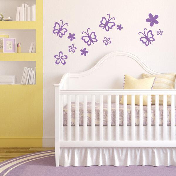 Wandtattoo Schmetterlinge Blumen Wandaufkleber Kinderzimmer