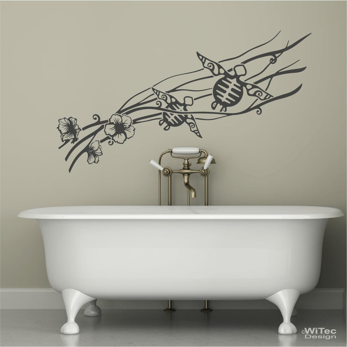 Hibiskus Schildkröten Wandtattoo Badezimmer