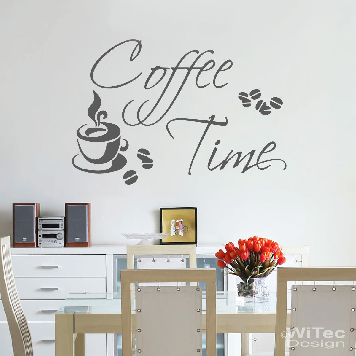 wandtattoo kaffee coffee time wandaufkleber k che. Black Bedroom Furniture Sets. Home Design Ideas