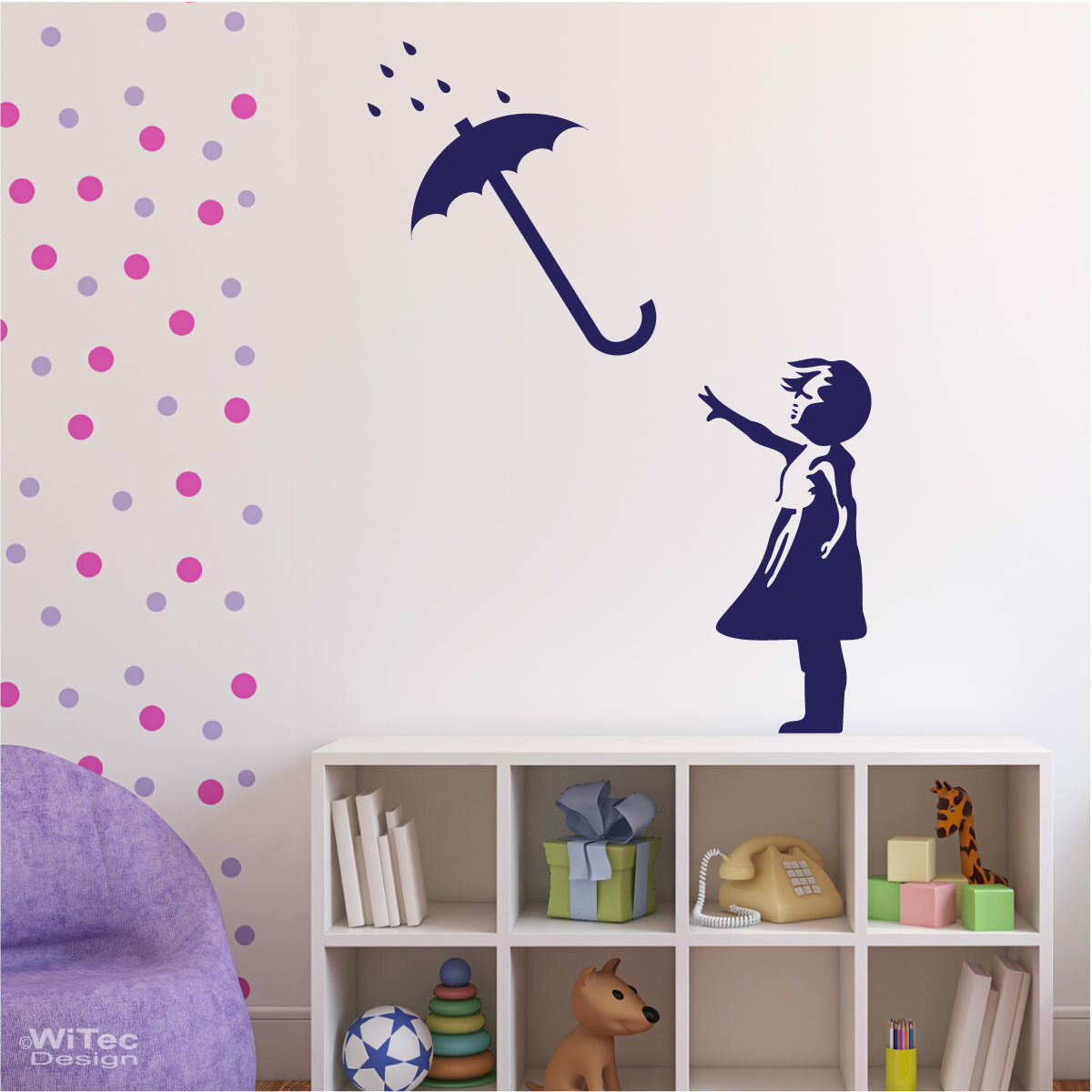 wandaufkleber mädchen mit regenschirm wandtattoo kind