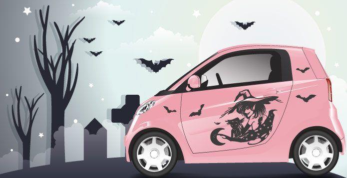 Hexen Autoaufkleber schaurig schön abc-aufkleber.de