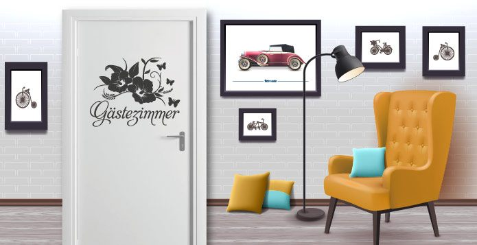 Tueraufkleber-Gästezimmer  - abc-aufkleber.de
